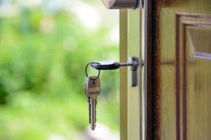 house keys left in open door