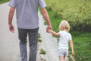 grandpa and granddaughter walking, per stirpes