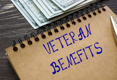 Financial concept meaning VETERAN BENEFITS with inscription on t